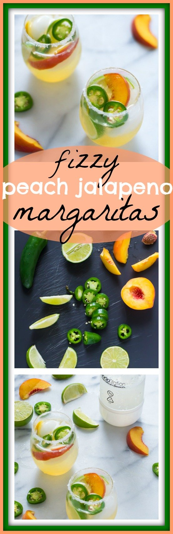 Fizzy Peach Jalapeno Margarita // Well-Plated