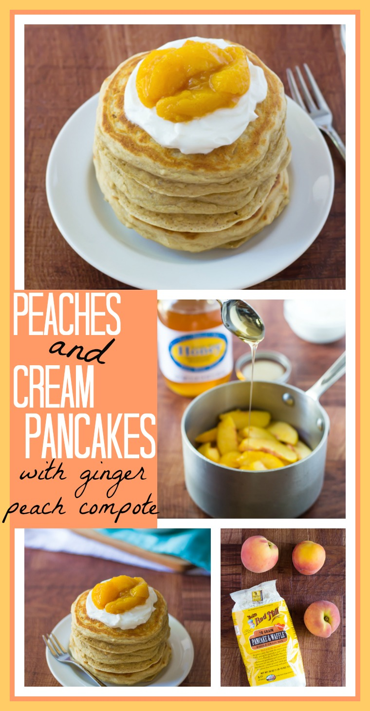 Peaches and Cream Pancakes with a Ginger-Peach Compote // Well-Plated
