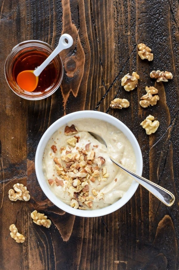 Protein packed honey walnut spread. This tofu cream cheese tastes amazing on everything!