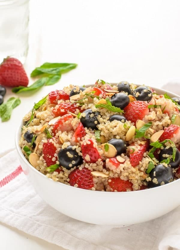 Red White and Blue Quinoa Fruit Salad. Must make for Memorial Day and the Fourth of July