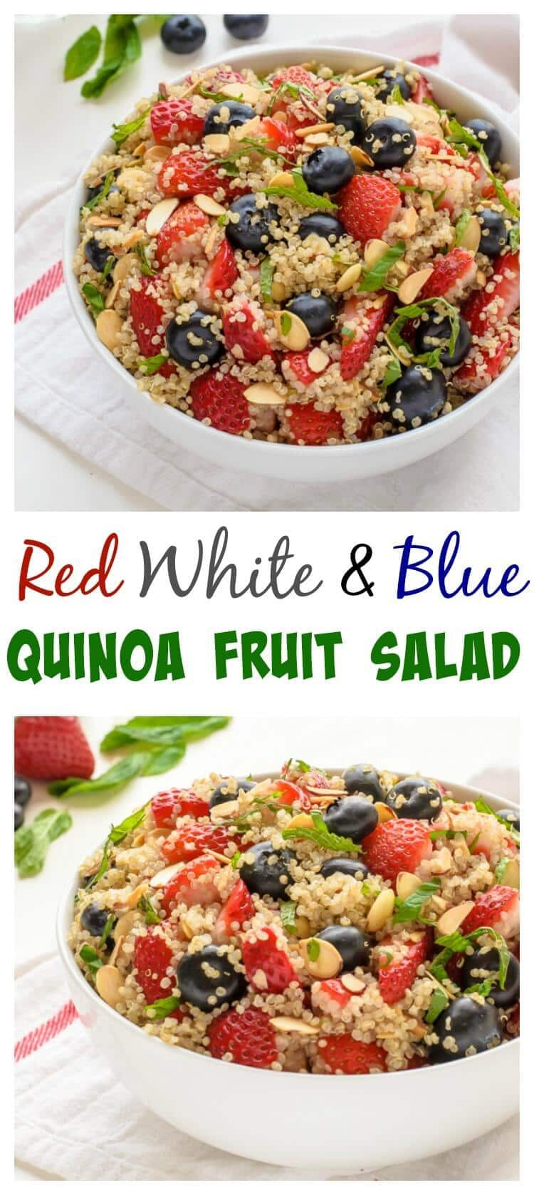 Red White and Blue Quinoa Fruit Salad. So cute for Memorial Day or the Fourth of July! Love this for breakfast and lunch too.