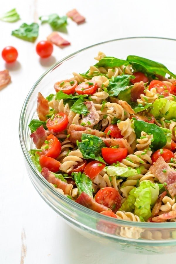BLT Pasta Salad is the ultimate way to bring greens to a party while ...