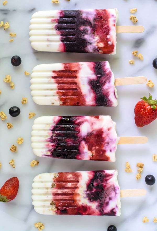 Like a parfait on a stick! Breakfast Yogurt Popsicles