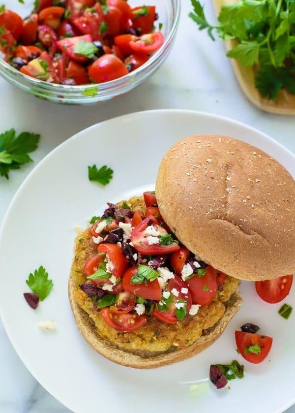 Mediterranean Quinoa Burgers. The best veggie burger recipe