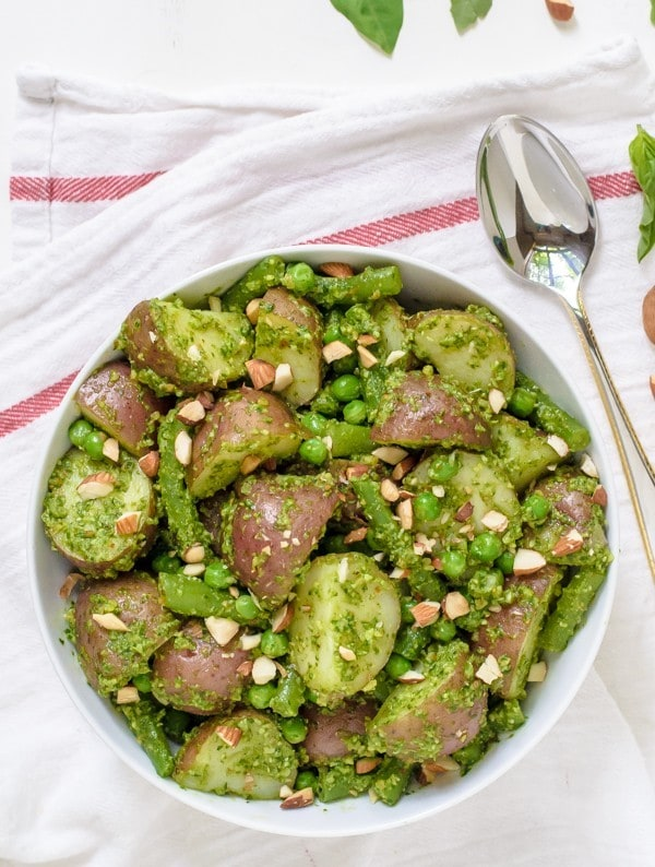 Pesto Potato Salad with Almonds and Green Beans