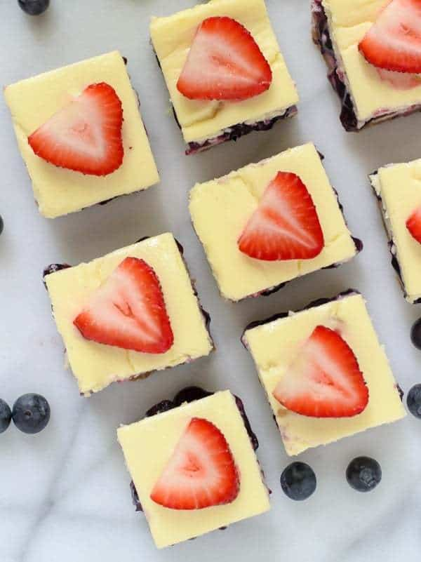 Red White and Blueberry Cheesecake Bars. Easy cheesecake bar recipe ...