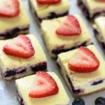 Red White and Blueberry Cheesecake Bars. The perfect dessert for the Fourth of July!