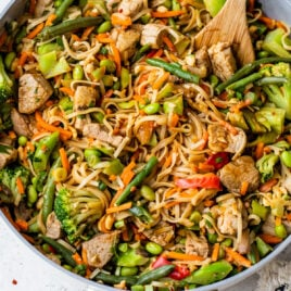 Slow Cooker Pork and Vegetable Stir Fry with Peanut Noodles