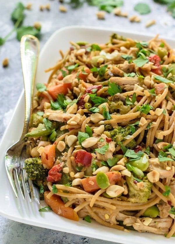 Slow Cooker Pork and Vegetable Stir Fry with Peanut Noodles