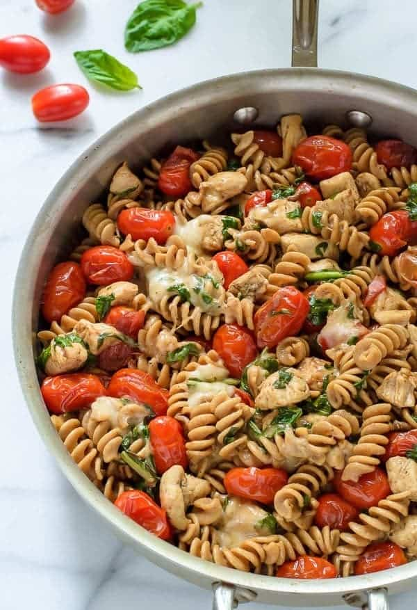 Caprese Chicken Pasta. Ready in only 30 minutes and healthy too! My favorite of all easy chicken and pasta recipes!