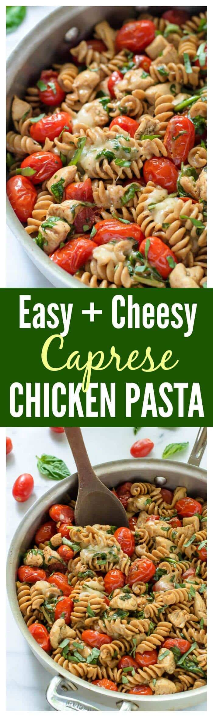 Cheesy Caprese Chicken Pasta with Mozzarella cheese and fresh tomatoes ...
