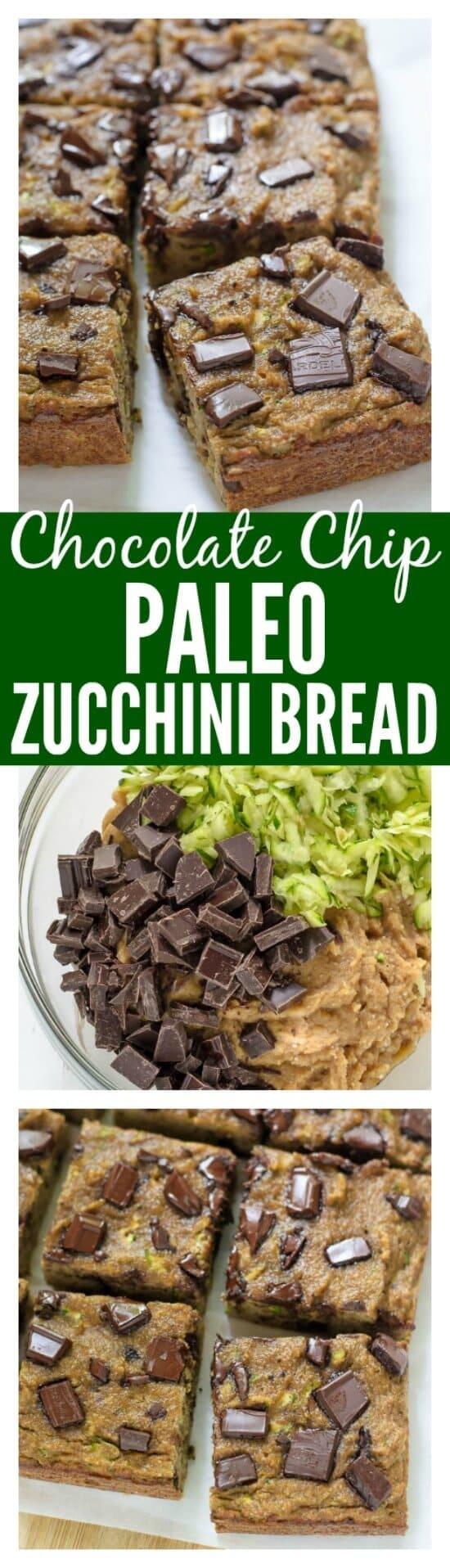 Chocolate Chip Paleo Zucchini Bread. Grain free, dairy free, and naturally sweetened! #paleo #dairyfree #grainfree #cleaneating