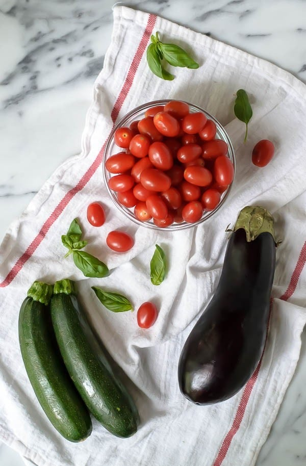 Easy Garlic Parmesan Zucchini Bake with Eggplant and Tomatoes