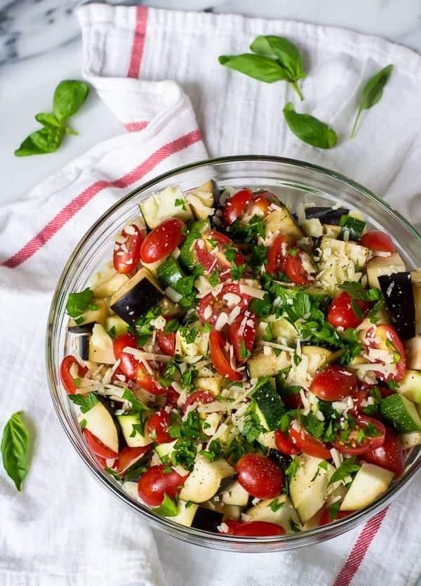 Eggplant Zucchini Bake with Tomatoes Garlic and Parmesan