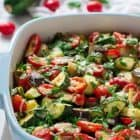 Garlic Parmesan Zucchini Bake with Eggplant and Tomatoes. A stunning one-bowl summer dish!