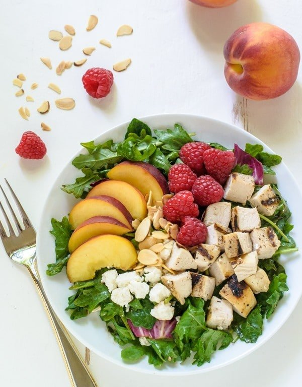 Grilled Peach Raspberry Chicken Salad with Feta and Kale