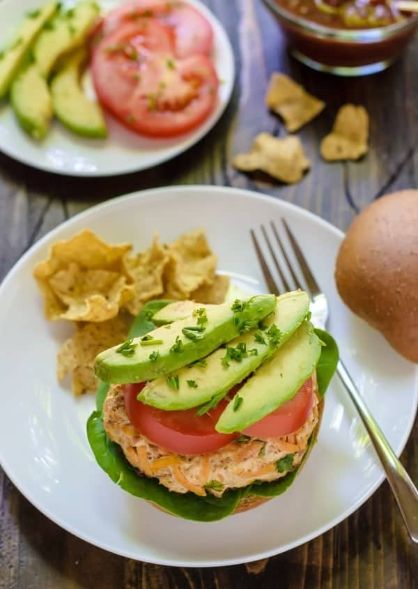 Paleo Chipotle Sweet Potato Turkey Burgers with Avocado. High protein, low fat, low carb, and easy to make ahead!