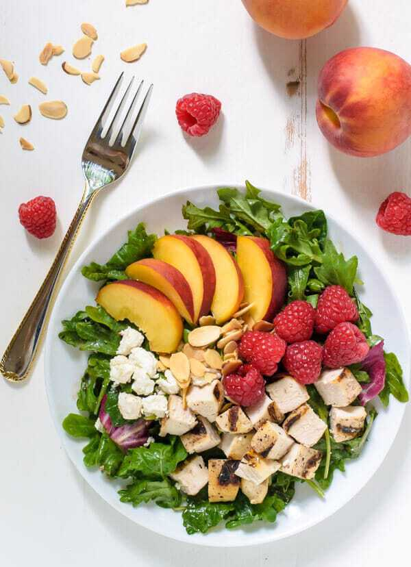 Raspberry Peach Salad with Grilled Chicken, Feta, and Almonds