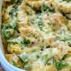 Spinach artichoke dip meets mac and cheese in this decadent, suprisingly healthy recipe