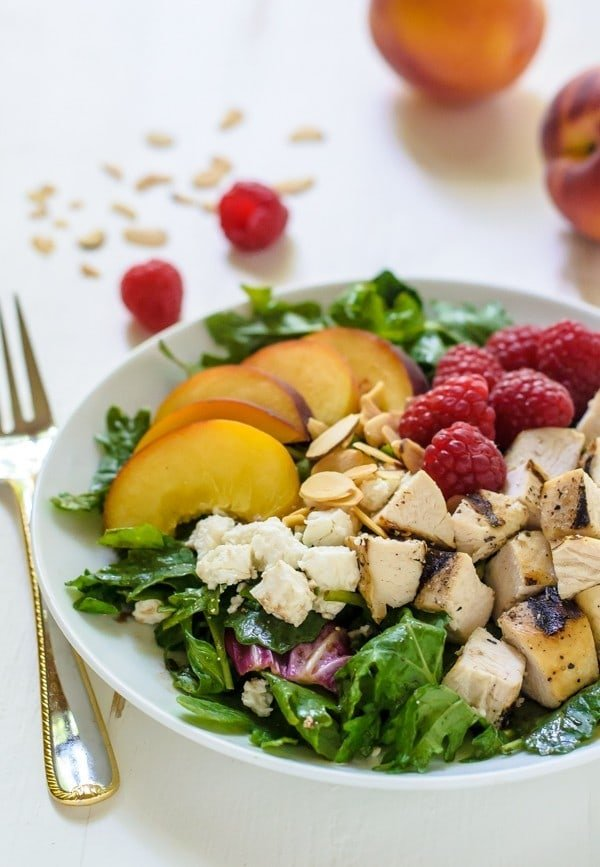 Summer Peach Chicken Salad with Raspberries and Feta