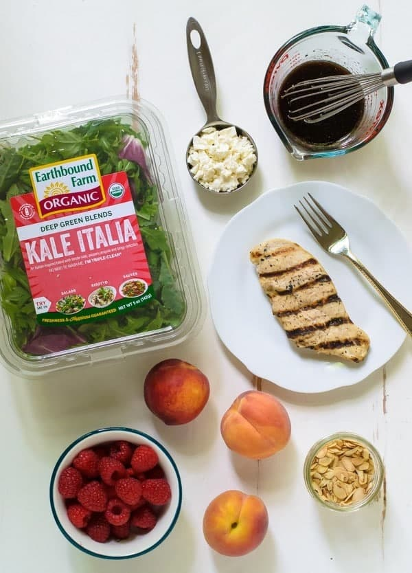 Summer Peach Salad with Raspberries, Chicken and Kale