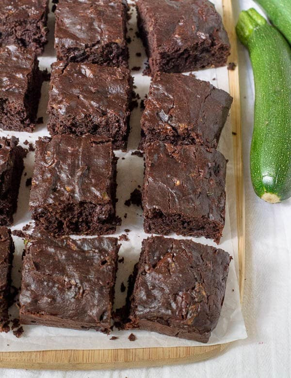 Whole Wheat Zucchini Brownies made with coconut oil and naturally sweetened with maple syrup