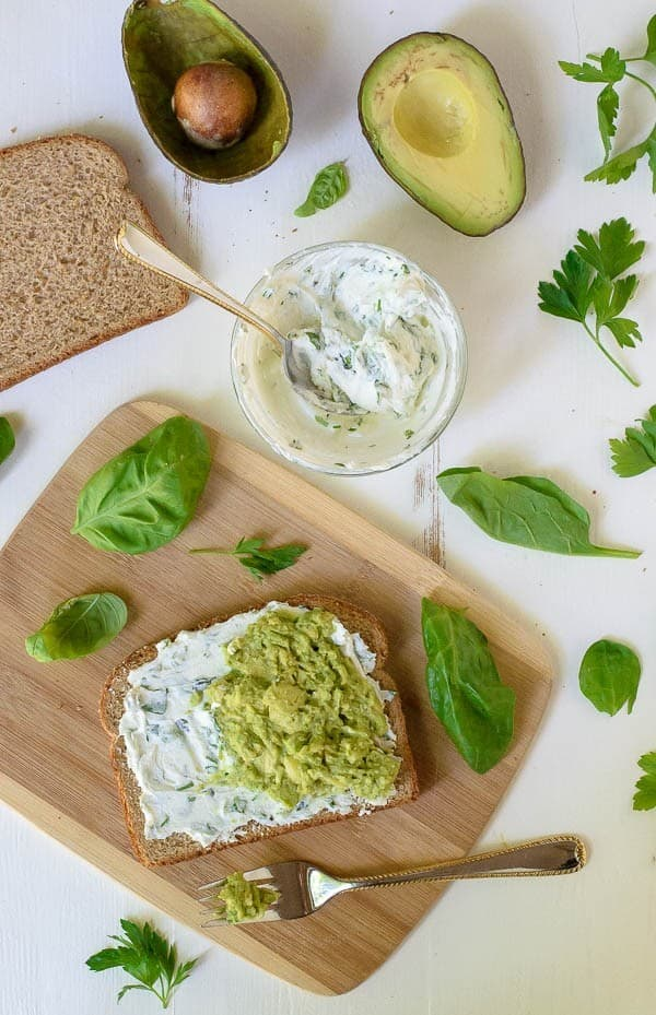 Avocado Grilled Cheese Sandwich with Herbed Goat Cheese