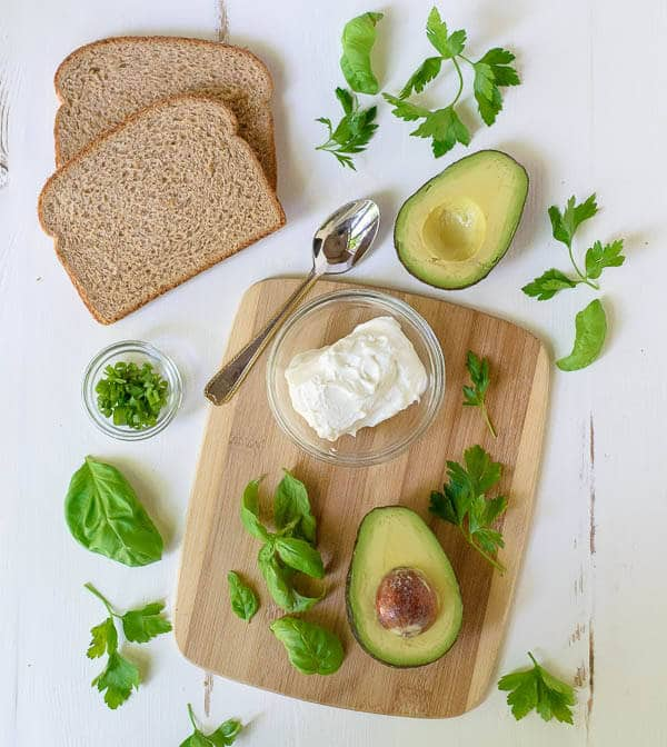 Ingredients for Avocado Grilled Cheese with Herbed Goat Cheese