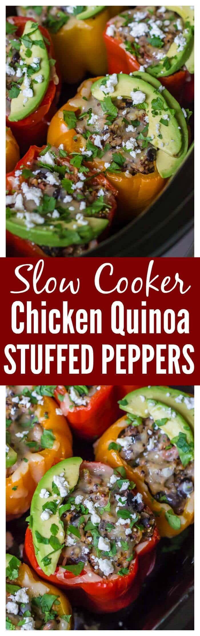 Chicken Quinoa Crock Pot Stuffed Peppers. Healthy, freezer friendly, and no prep work required! #slowcooker #glutenfree #crockpot