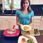 Cooking fish tacos with zucchini peach salsa on EVINE Live's The Sizzle