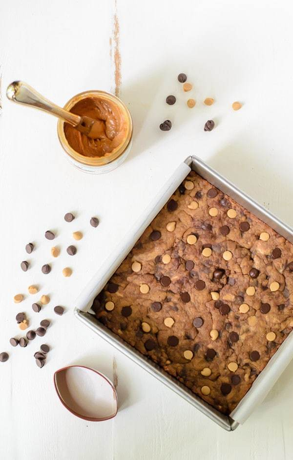 Double Peanut Butter Blondies with Chocolate Chips