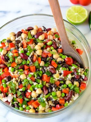 Mexican Three Bean Salad with Wild Rice