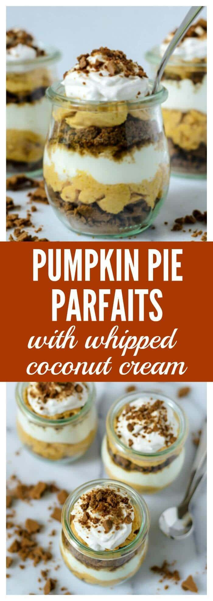 Pumpkin Pie Parfaits with Gingersnaps and Coconut Whipped Cream
