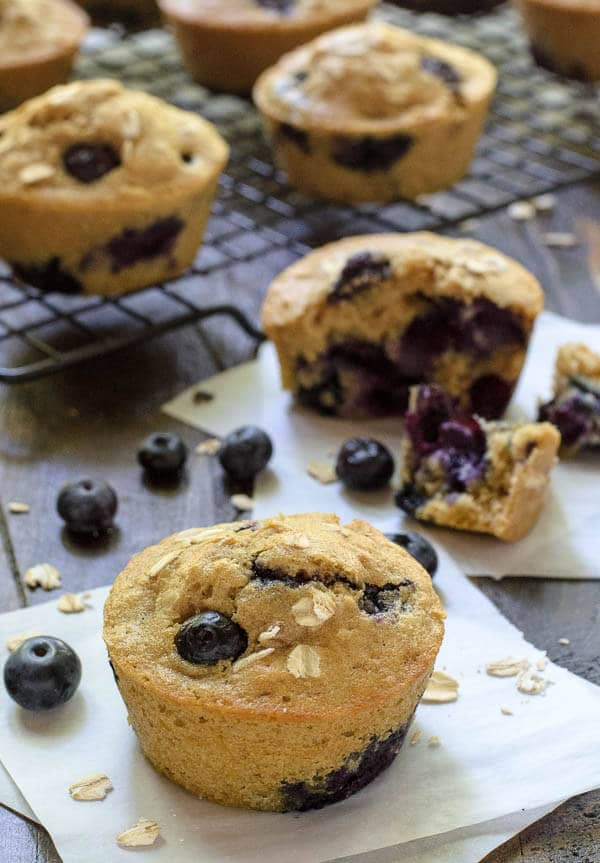 The best ever blueberry muffins! You'll love this healthy blueberry muffin recipe made with oats and cinnamon