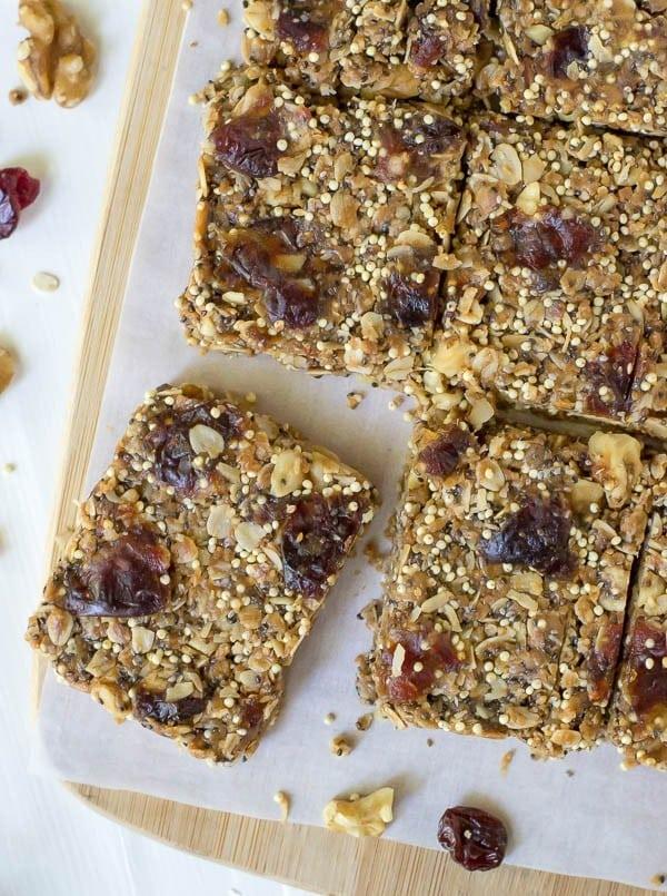 No Bake Peanut Butter Chia Healthy Granola Bars