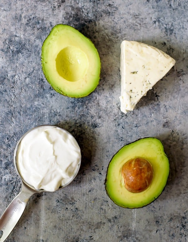 Blue Cheese Avocado Dip made with Greek yogurt. Perfect with Buffalo Wings!