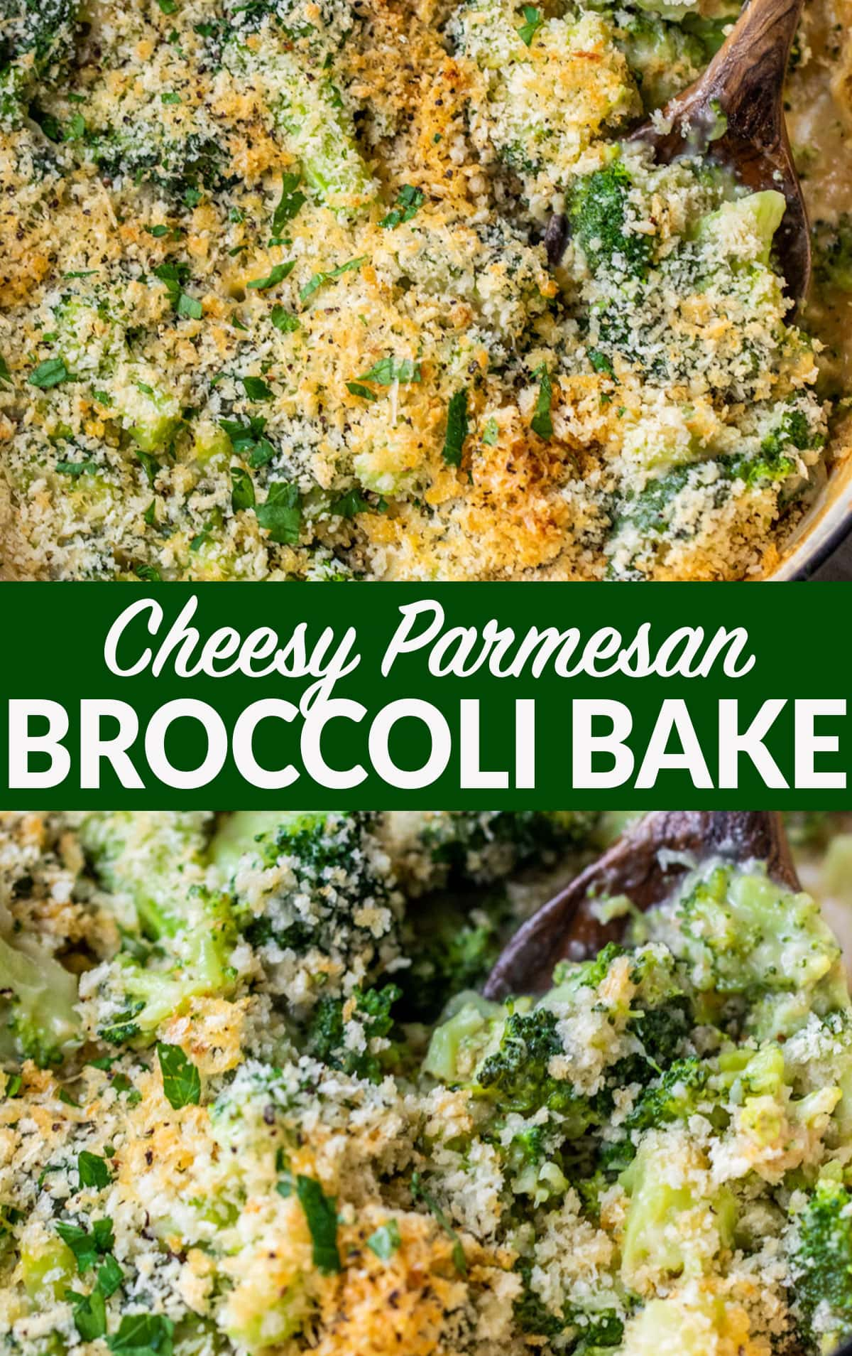 Cheesy Parmesan Broccoli Casserole with Crispy Breadcrumb Topping. A family favorite recipe that goes with any meal!