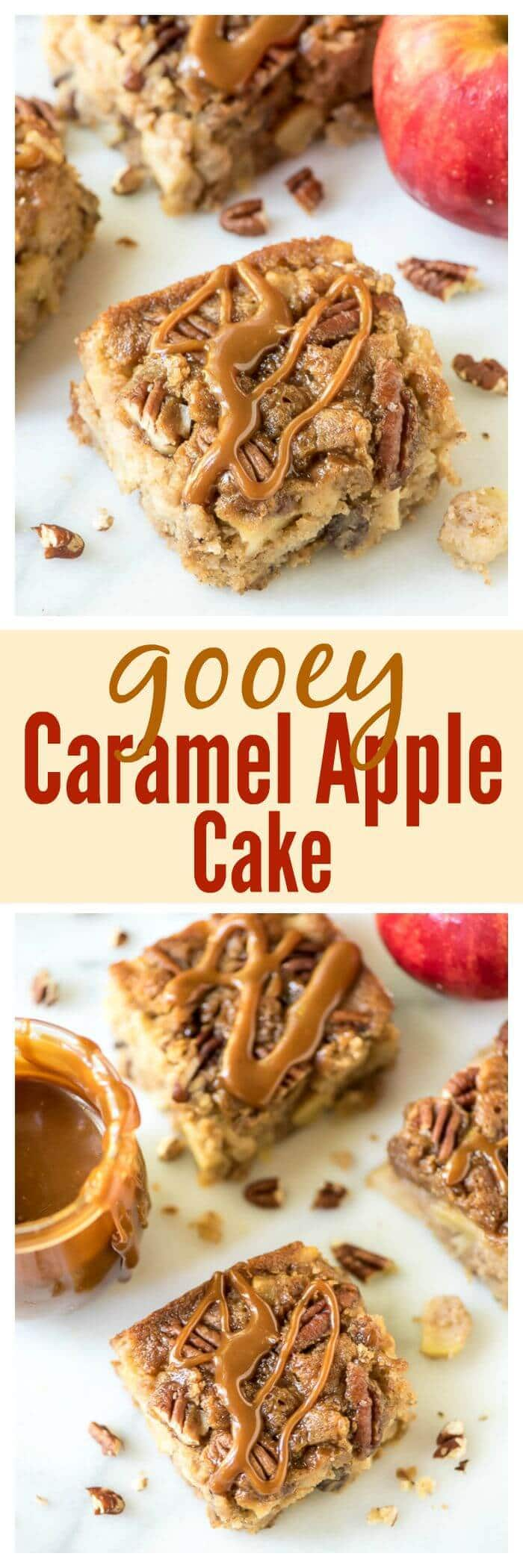 Gooey Caramel Apple Cake. Like a cross between gooey butter cake and a caramel apple!