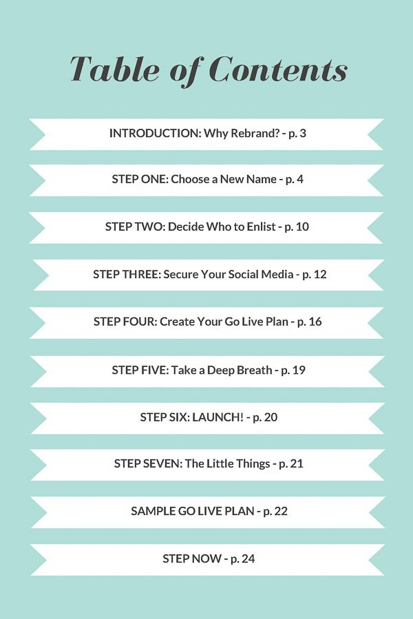 How to Rebrand Your Blog—Table of Contents