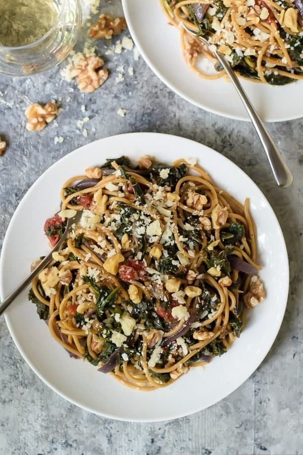 Kale Pasta with Caramelized Onions, Walnuts and Parmesan