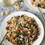 Kale Pasta with Walnuts and Parmesan. A quick and healthy one-pan dinner!