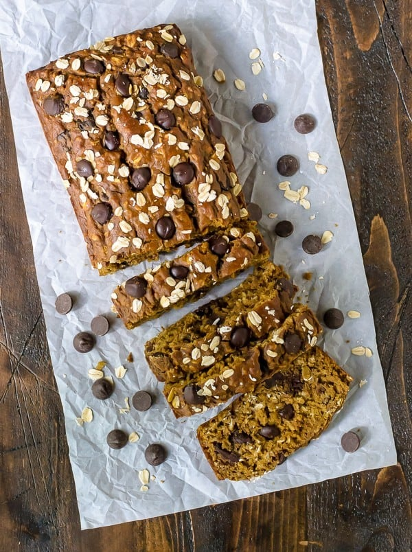 Pumpkin Chocolate Chip Bread. Incredibly moist with lots of pumpkin flavor and spice!