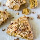 Soft and fluffy Pumpkin Scones with Maple Glaze. SO moist and way better than Starbucks! Sweetened with maple syrup and made with wholesome ingredients