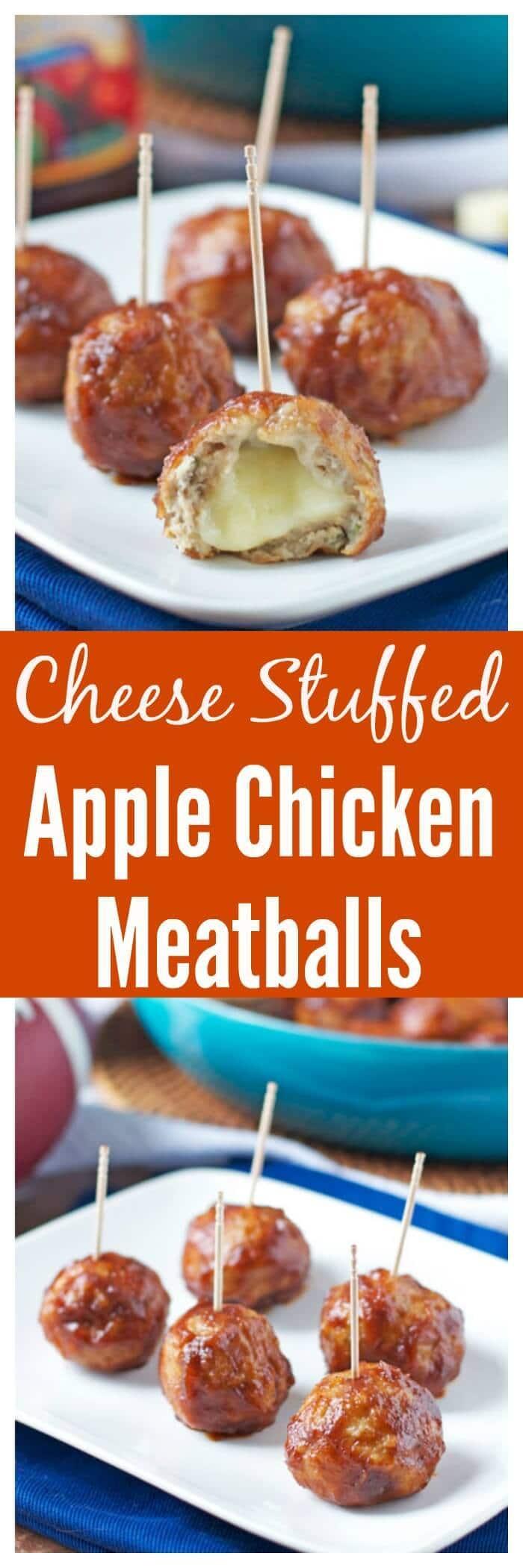 Cheese Stuffed Apple Chicken Meatballs