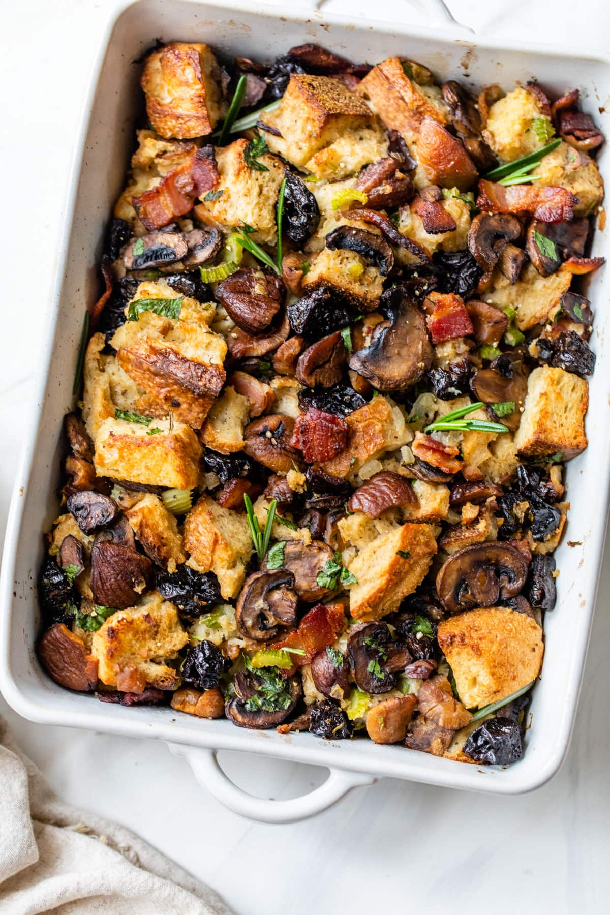Bacon Mushroom Stuffing with Rosemary. The perfect Thanksgiving or holiday side dish to make your meal truly special