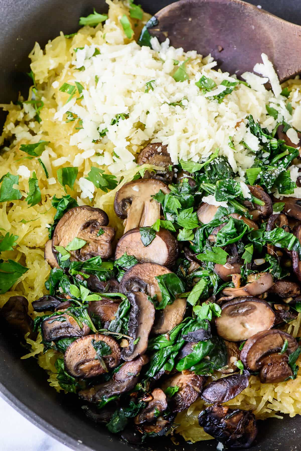 Best Ever Roasted Spaghetti Squash with Parmesan Cheese, Mushrooms, and Herbs