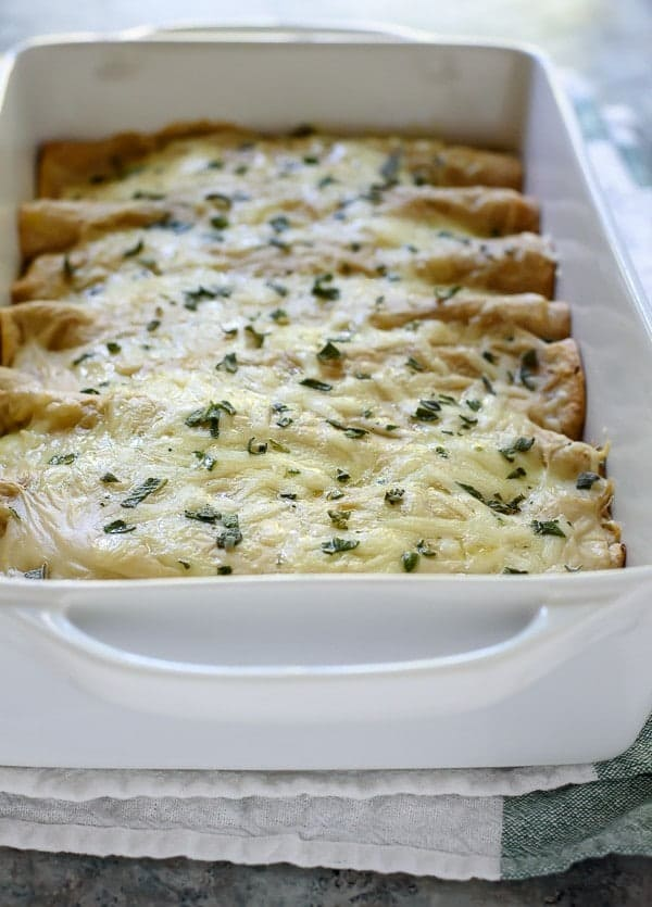 Cheesy Butternut Squash Spinach Enchiladas