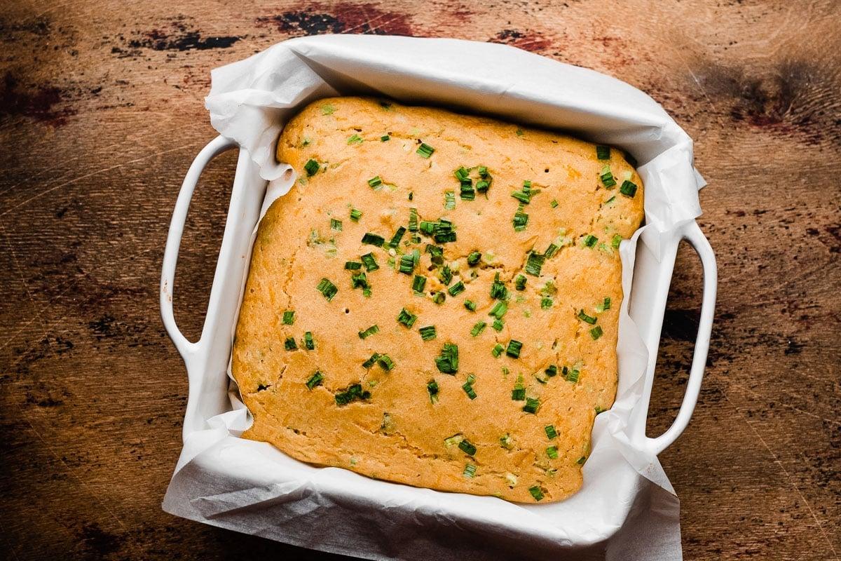 Cheesy Jalapeno Cornbread. Less than 10 minutes to prep and SO moist!