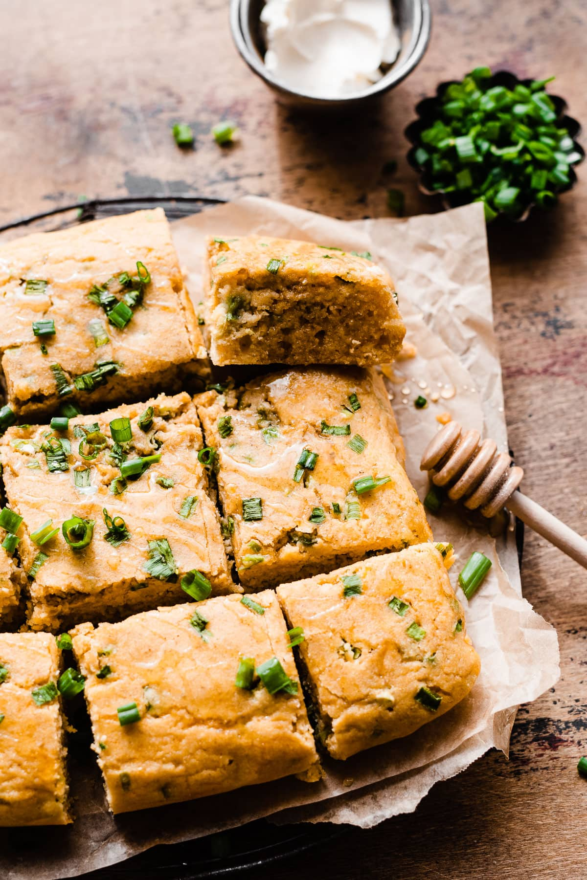 Cheesy Jalapeno Cornbread. Moist, tender and loaded with cheese. Made with unsweetened apple sauce, this healthy cornbread will be your go-to recipe!