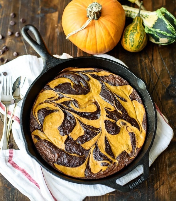 Cream Cheese Pumpkin Brownie recipe. Like a pumpkin cheesecake and a soft, fudgy brownie had a delicious dessert baby!